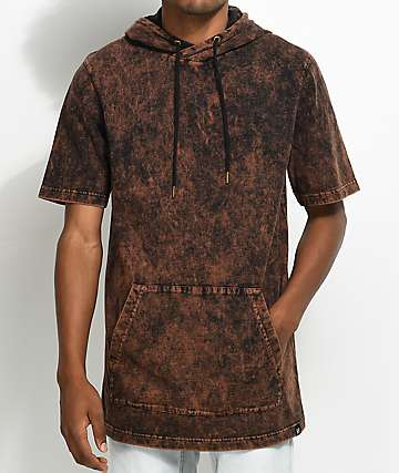 Ninth Hall Atmosphere Brown & Black Rush Wash Short Sleeve Hoodie