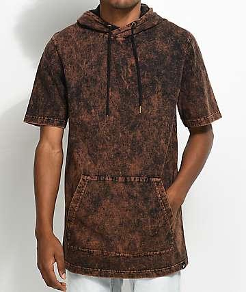 Ninth Hall Atmosphere sudadera marrón y negro con capucha de manga corta