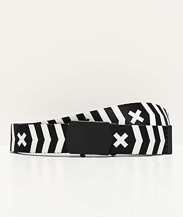 Ninth Hall Bolt Black & White Striped Web Belt
