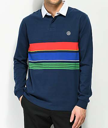 Ninth Hall Carters Navy Stripe Long Sleeve Polo