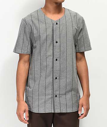 Ninth Hall Charles Grey & Black Stripe Baseball Jersey