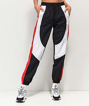Ninth Hall Corbet Red, White & Black Crinkle Track Pants
