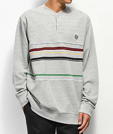 Ninth Hall Degree Grey Striped Knit Long Sleeve Shirt