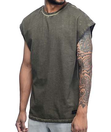 Ninth Hall Dime Cap Shoulder Olive Tank Top