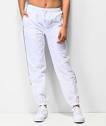 Ninth Hall Edison Reflective Piping White Crinkle Track Pants