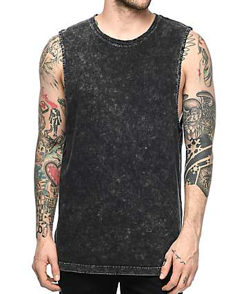 Ninth Hall Ellipse Distressed Black Tank Top