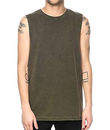 Ninth Hall Ellipse camiseta rota sin mangas en color verde olivo