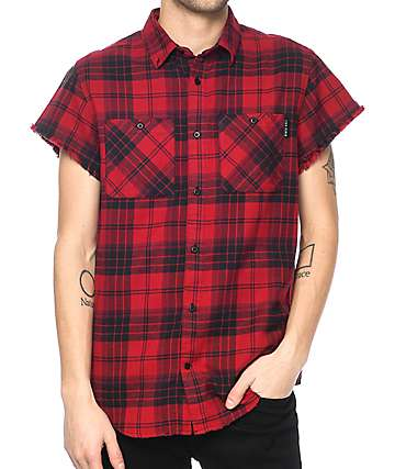 Ninth Hall Enzo Red & Black Destroyed Short Sleeve Flannel Shirt