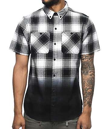 Ninth Hall Enzo camisa de franela teñido en blanco y negro