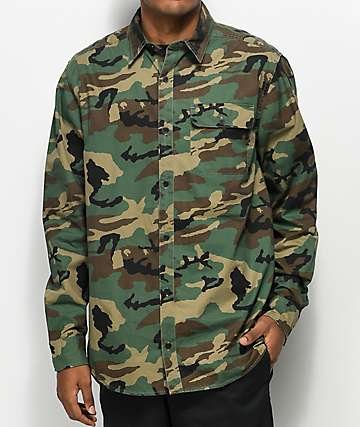 Ninth Hall Fabian Camo Print Woven Shirt