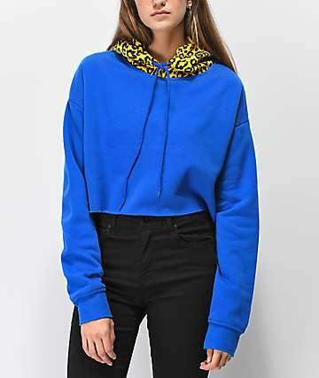 Ninth Hall Fayedra Blue Animal Print Crop Hoodie