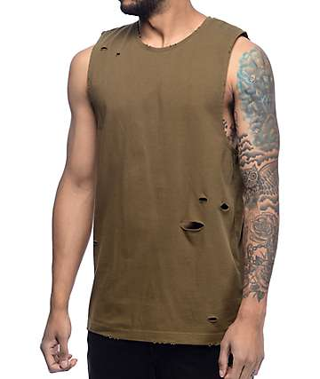 Ninth Hall Fracture Olive Muscle Tank Top