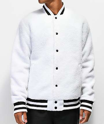 Ninth Hall Fuzzy White Varsity Jacket