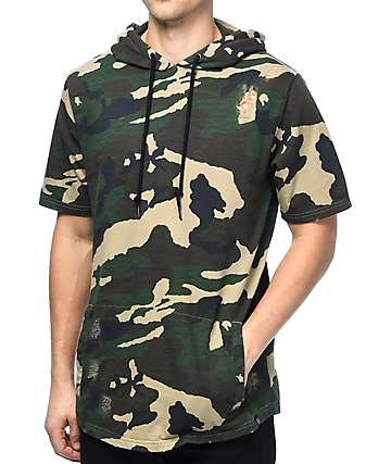 Ninth Hall Grant Destructed Camo Short Sleeve Hoodie