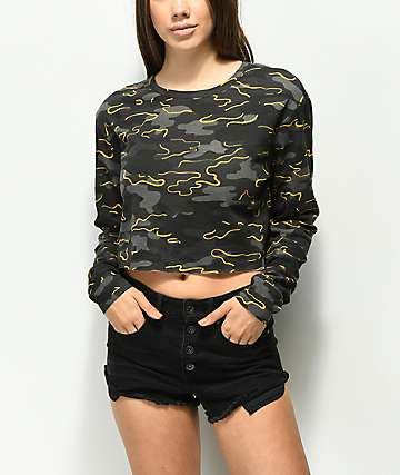 Ninth Hall Kaiko Camo Crop Long Sleeve T-Shirt