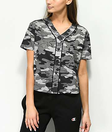 Ninth Hall Kent Grey Camo Cropped Jersey Top