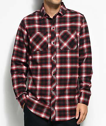 Ninth Hall Lank camisa de franela en rojo y negro