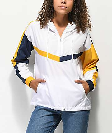 Ninth Hall Liza chaqueta anorak blanca, amarilla y azul marino
