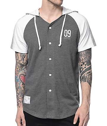 Ninth Hall Minor League camiseta béisbol con capucha en gris y blanco