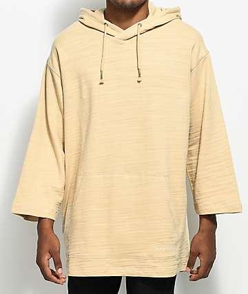 Ninth Hall Pastel Khaki 3⁄4 Sleeve Oversized Hoodie
