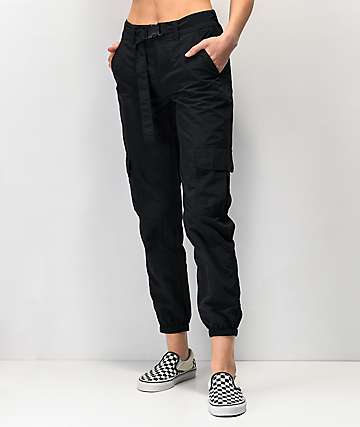 Ninth Hall Raines Buckle Belt Black Cargo Pants