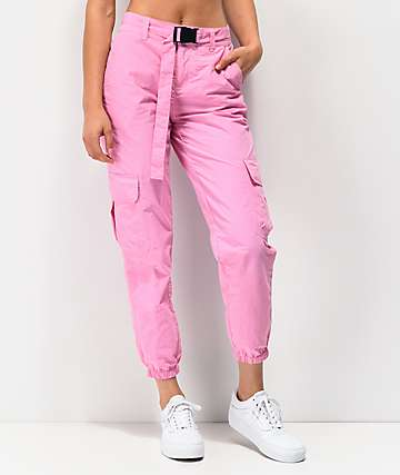 Ninth Hall Raines Buckle Belt Pink Cargo Pants