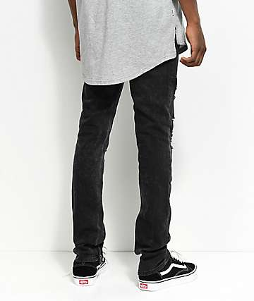 Ninth Hall Rogue Crow Destroyed Zippered Black Washed Skinny Fit Jeans