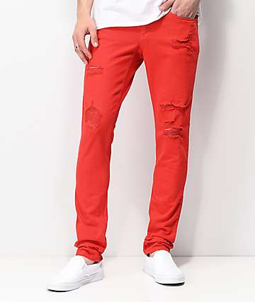 Ninth Hall Rogue Slashed Red Denim Skinny Jeans