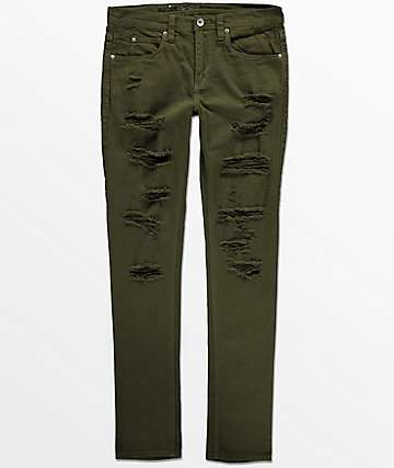 Ninth Hall Rogue skinny jeans rotos en color verde olivo