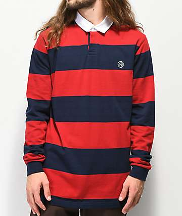 Ninth Hall Ruggers Navy & Red Long Sleeve Polo Shirt