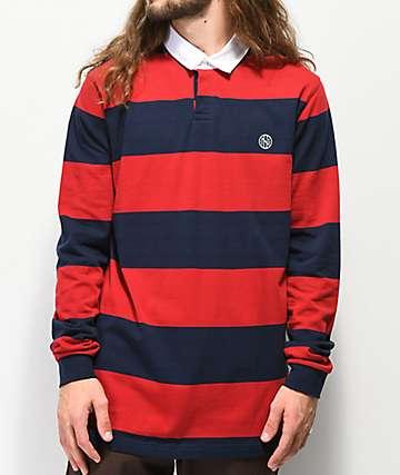 Ninth Hall Ruggers Navy & Red Long Sleeve Polo Shirt