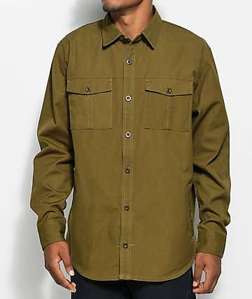 Ninth Hall Service Olive Canvas Long Sleeve Button Up Shirt