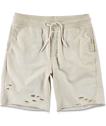 Ninth Hall Shredder shorts rotos en color crema