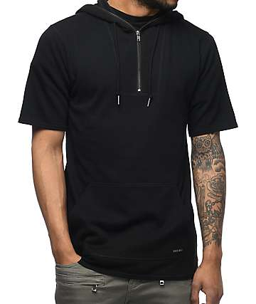 Ninth Hall Statue Quarter Zip Black Short Sleeve Hoodie