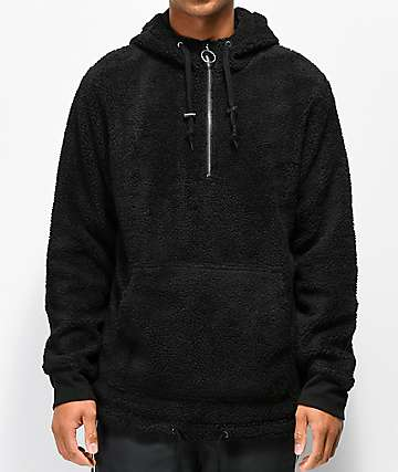 Ninth Hall Summit Black Sherpa Half-Zip Tech Hoodie
