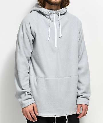 Ninth Hall Temps Half Zip Up Grey Hoodie