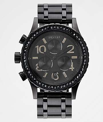 Nixon 38-20 Black Crystals Chronograph Watch