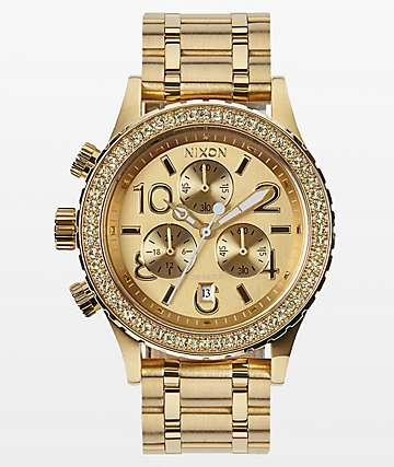 Nixon 38-20 Gold Crystals Chronograph Watch