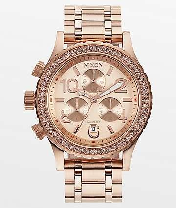 Nixon 38-20 Rose Gold Crystals Chronograph Watch