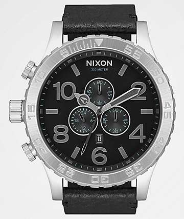 Nixon 51-30 Chrono Leather Black, Gunmetal & Black Watch