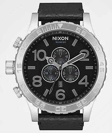 Nixon 51-30 Chrono Leather Black, Gunmetal & Black Watch