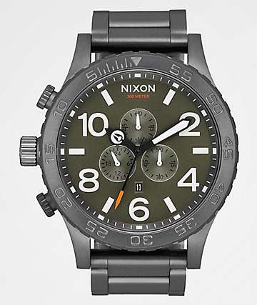 Nixon 51-30 Gunmetal, Slate & Orange Chronograph Watch