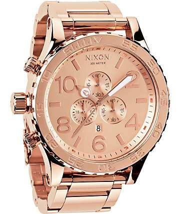 Nixon 51-30 reloj cronógrafo en color oro rosa