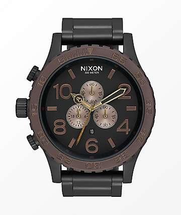 Nixon 51-30 reloj cronógrafo en negro, marrón y latón