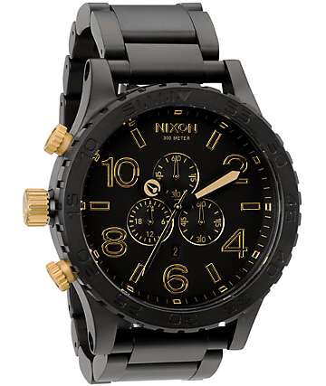 Nixon 51-30 reloj cronógrafo negro mate y oro