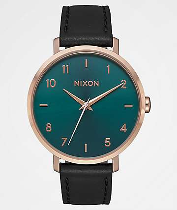 Nixon Arrow Leather Rose Gold & Emerald Watch