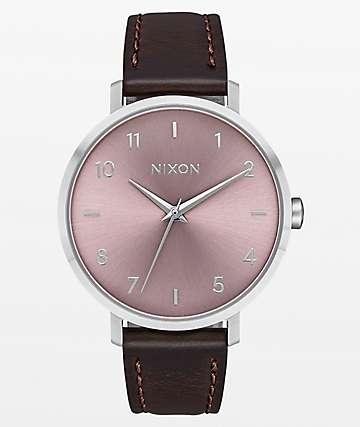 Nixon Arrow Leather Silver Pale Lavender Analog Watch