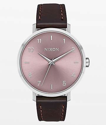 Nixon Arrow Leather Silver Pale Lavender Analog Watch