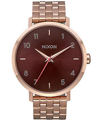 Nixon Arrow Rose Gold & Brown Watch