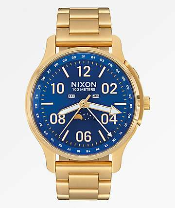 Nixon Ascender Gold & Blue Analog Watch